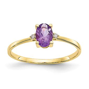 10k Yellow Gold Oval Polished Prong set Diamond Amethyst Ring Size 6 Jewelry Gifts for Women