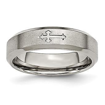 Titanium graverbar religiøs tro Cross Design 6mm Satin Facettet Edge Band Ring smykker Gaver til kvinder - Ring Størrelse: 6