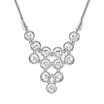 Stainless Steel Fancy Lobster Closure Multi-circle Polished With 2inch Ext. Necklace - 16 Inch