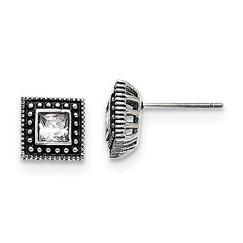 Stainless Steel Polished Square CZ Cubic Zirconia Simulated Diamond Post Earrings Jewelry Gifts for Women
