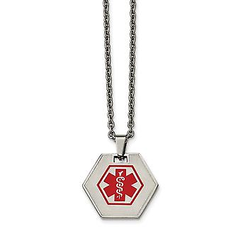 Stainless Steel Hexagon Shaped Medical Pendant Necklace  20 Inch Jewelry Gifts for Women