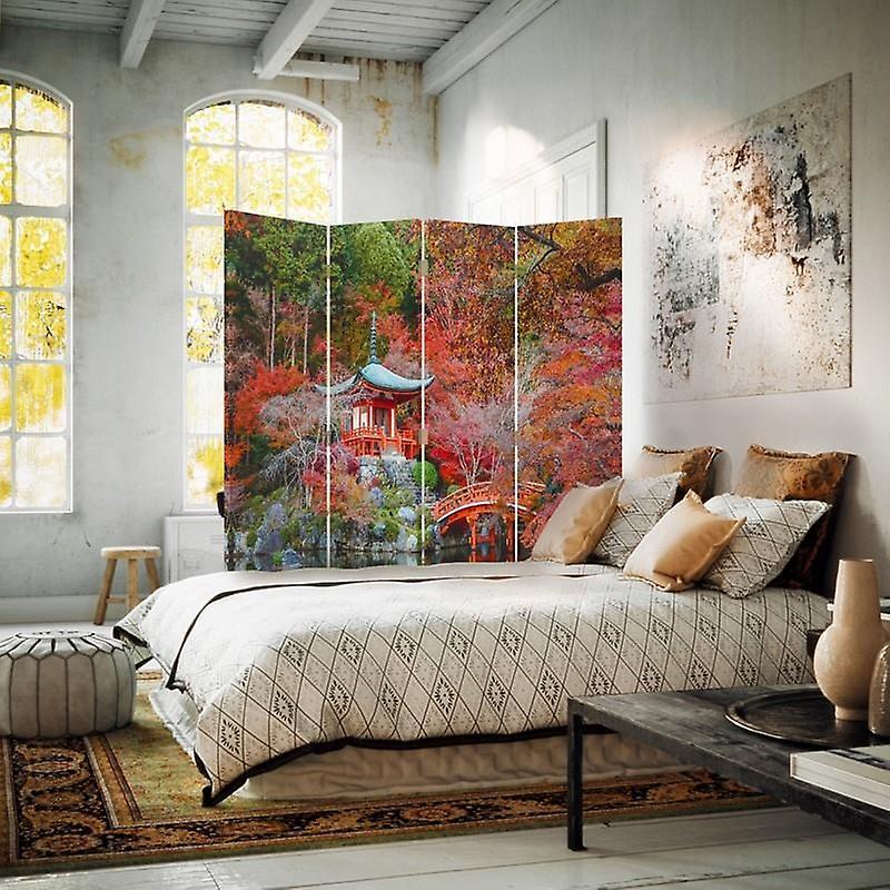 Diviseur de chambre, 4 panneaux, toile, jardin dans le modèle japonais