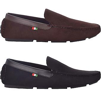 Duke D555 Mens Hugh Wide Fit Casual Faux Suede Slip On Driving Loafers Shoes