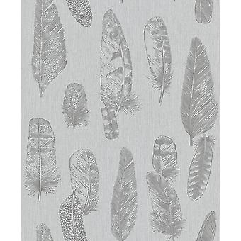 Grey Stripe Feather Motif Wallpaper Metallic Vinyl Paste Wall Erismann Scandinja