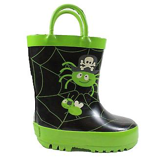 Startrite Spider Glow Black/Green Rubber Unisex Glow In The Dark Wellington Boots