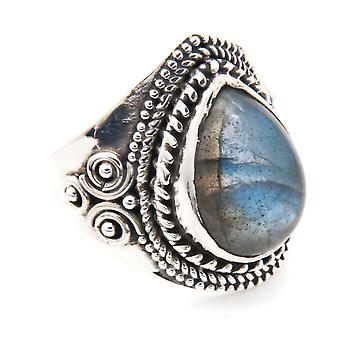 Labradorite ring 925 sølv sterling sølv kvinders ring grøn blå (MRI 105-05)