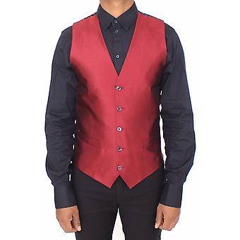Dolce & Gabbana Red Silk Dress Vest Blazer Jacket -- VES1782576