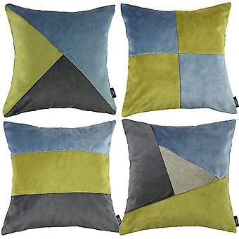 McAlister textilier lapp täcke sammet grön, blå + grå kudde set