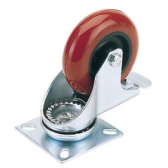 100mm dia. draaibare plaat bevestiging polyurethaan wiel met rem-S. W.L. 125Kg-605100PB