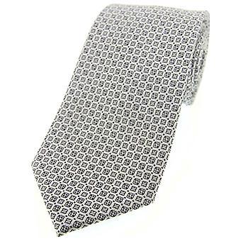 David Van Hagen Neat Mosaic Polyester Morning Tie - Grey
