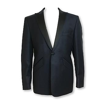 William Hunt 3 piece dinner suit in navy and black with repeating design