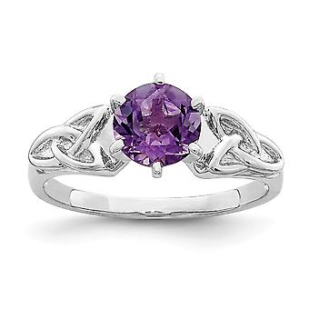 925 Sterling Silver Rhodium bancaram ametista Celtic Trinity Ring Jewely Gifts for Women - Ring Size: 6 a 8