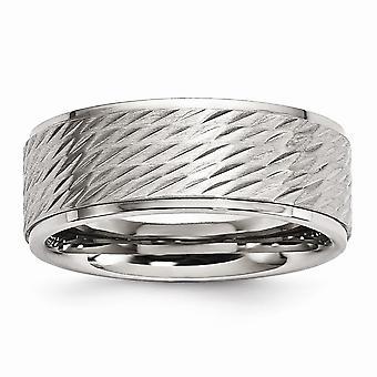Rustfrit stål børstet og poleret tekstureret Band Ring smykker Gaver til kvinder - Ring Størrelse: 8 til 12