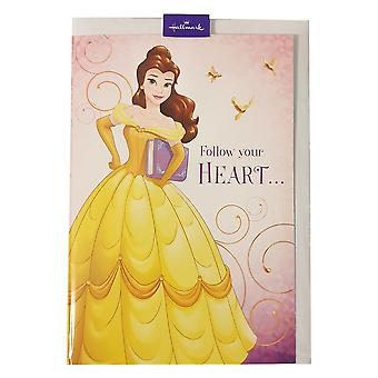 "Hallmark Disney Princess Belle ""follow Your Heart..."" 12 X 17cm Greetings Card 25470216"