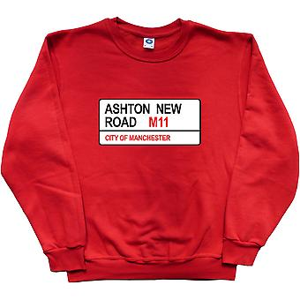 Manchester City: Ashton New Road M11 Road Sign Red Sweatshirt