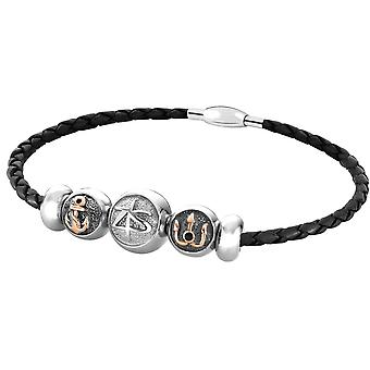 Zeades drop Neptune black - Bracelet steel bracelet / leather Black Pearl man