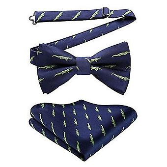 Navy blue & green crocodile bow tie & pocket square