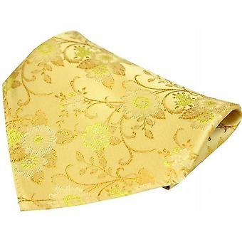 David Van Hagen Flowers Silk Pocket Square - Gold