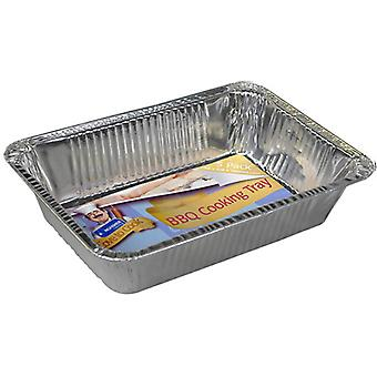 Kingfisher 5 Pack Of Rectangular BBQ Foil Cooking Trays 20.8 x 14.2 x 4.2cm