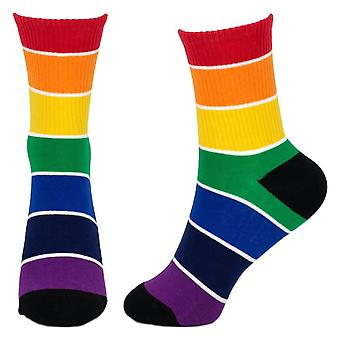 Women's Rainbow Block Design Ribbed Newy Crew Socks