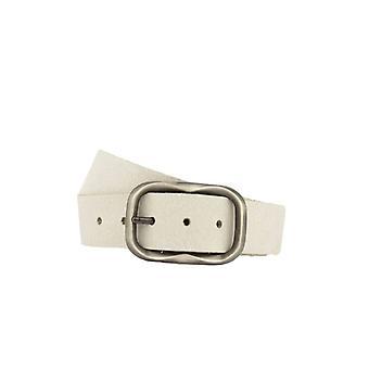 Simple Light Grey Women's Belt With Vintage Oval Buckle