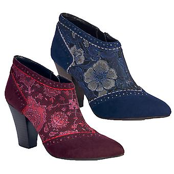 Ruby Shoo Nicola Ankle Boots Faux Suede & Pattern Panel