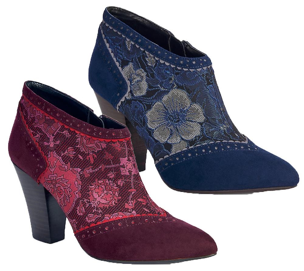 Ruby Shoo Nicola Ankle Boots Faux Suede & Pattern Panel 874v1