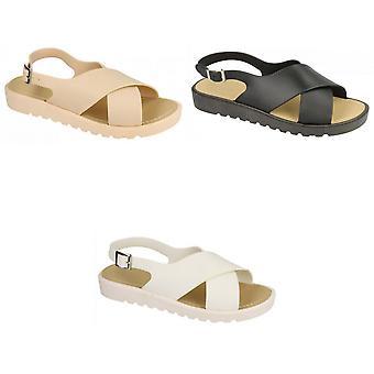 Plats på Womens/damer låg Slingback X Vamp sandaler