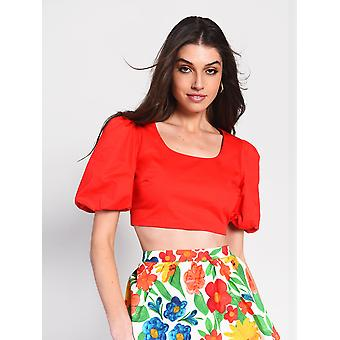 Red puff sleeve crop top