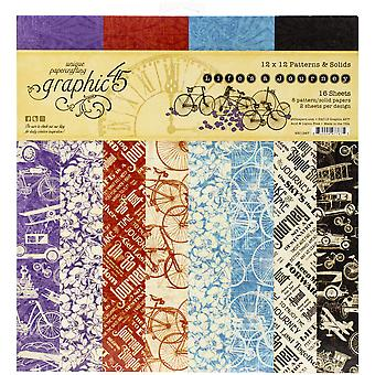 "Gráfico 45 Doble - Papel Lateral Pad 12""X12"" 16/Pkg - Life's A Journey, 8 Designs/2 Each"