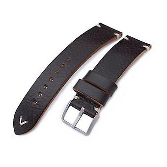 Strapcode leather watch strap 20mm, 21mm, 22mm miltat dark brown beige stitching, sandblasted buckle