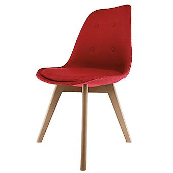 Fusion Living Eiffel Inspired Red Fabric Dining Chair With Squared Light Wood Legs