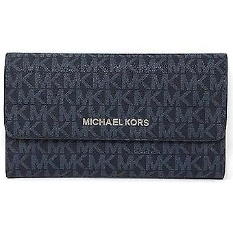 Michael kors jet set travel large trifold wallet admiral mk signature silver