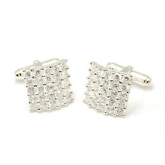 Gents Cufflinks Jakob Strauss Sterling Silver Fancy Rhinestone Cuff Links