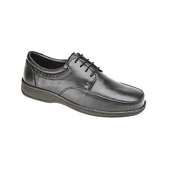 Roamers Black Super Soft Leather 4 Eye Lightweight Tie Shoe