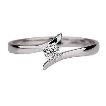 0.10 CT 3.00MM Moissanite Forever One Engagement Ring Colorless VVSUnique Twist Round 14K White Gold
