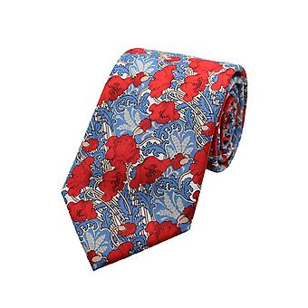 Red & Blue Liberty Art Fabric Floral Print Tie