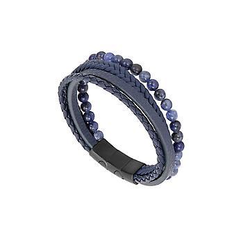 31MADISON Blue Multi Leder en Kraal armband