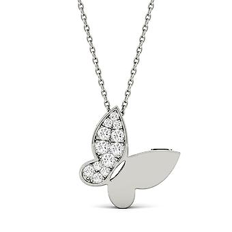 Forever One Moissanite Butterfly Pendant Necklace, 0.15cttw DEW (D-E-F)