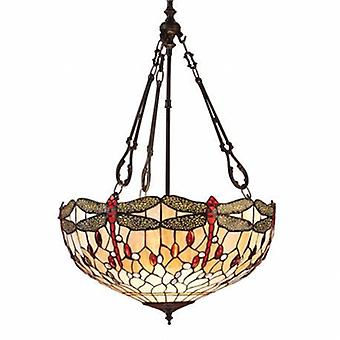 3 Light Large Inverted Ceiling Pendant Bronze, Red, Dragonfly Tiffany Glass