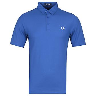 Fred Perry Button Down Ocean Blue Polo Shirt