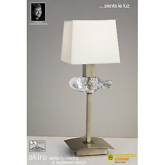Akira Table Lamp 1 E14 Bulb, Antique Brass With Cream Shade
