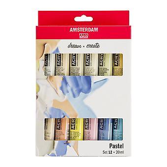 Amsterdam Acrylic Paint Pastel Colours Set 12 x 20ml