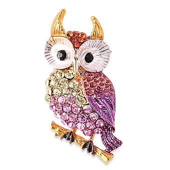 TJC Multi Color Crystal Owl Brooch for Women