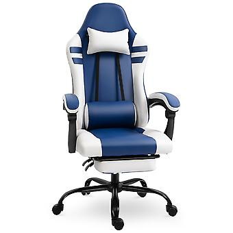 Vinsetto Luxe PU Leather Gaming Chair w/ Footrest Wheels Ergonomic Adjustable Height Padding Removable Pillows Swivel 5 Wheels Reclining Back Office Racing Room Work Blue White