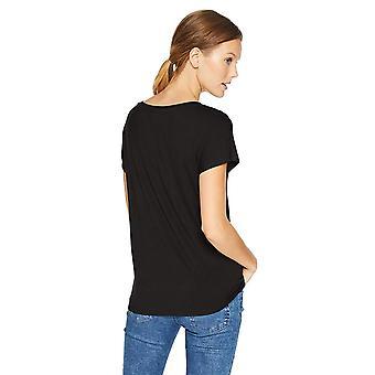 Daily Ritual Women's Jersey Short-Sleeve Boat Neck Shirt,, Noir, Taille Grande