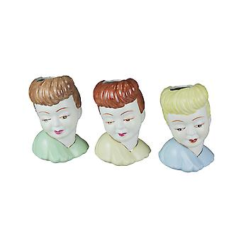Set of 3 Hand Painted Ceramic 1950's Style Lady Head Mini Planters