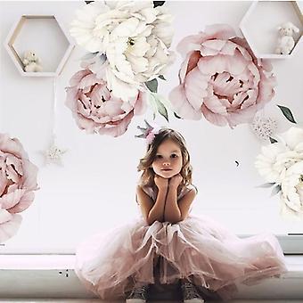Pink White Aquarelle Pivoine Fleurs Mur Autocollants - Salle de séjour Pour enfants