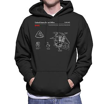 NASA Command Module Control System Blueprint Men's Hooded Sweatshirt