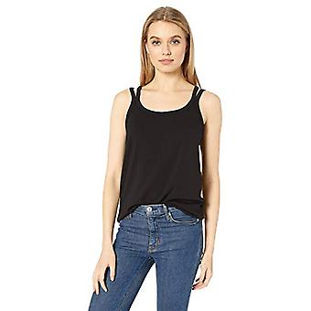 Brand - Daily Ritual Women's Supersoft Terry Double-Strap Tank, Black , Large